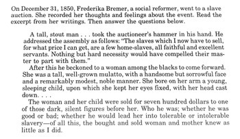 Primary Document on a Slave Auction-Common Core