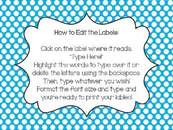 Primary Dot Editable Labels