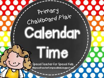 Primary Polka Dot and Chalkboard Flair Calendar Kit