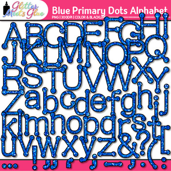 Blue Primary Dots Alphabet Clip Art {Great for Classroom Decor & Resources}