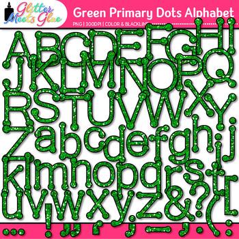 Green Primary Dots Alphabet Clip Art | Glitter Letters for Classroom Decor