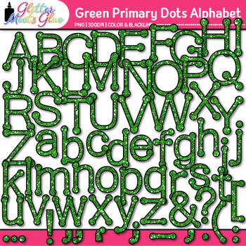 Green Primary Dots Alphabet Clip Art {Great for Classroom