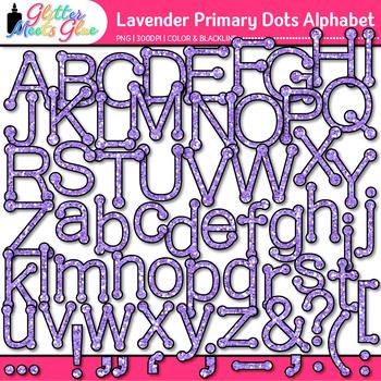 Lavender Primary Dots Alphabet Clip Art   Glitter Letters for Classroom Decor