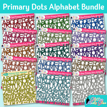 Primary Dots Alphabet Clip Art Bundle | Great for Classroom Decor & Resources