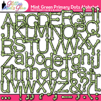 Mint Green Primary Dots Alphabet Clip Art | Glitter Letters for Classroom Decor