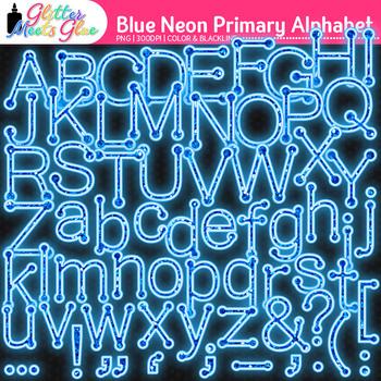 Blue Neon Primary Dots Alphabet Clip Art {Glitter Letters for Classroom Decor}