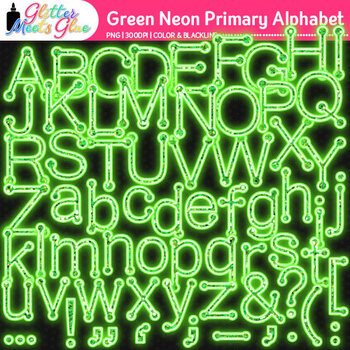 Green Neon Primary Dots Alphabet Clip Art {Glitter Letters for Classroom Decor}