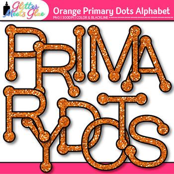 Orange Primary Dots Alphabet Clip Art   Glitter Letters for Classroom Decor