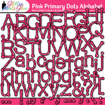 Pink Primary Dots Alphabet Clip Art   Glitter Letters for Classroom Decor