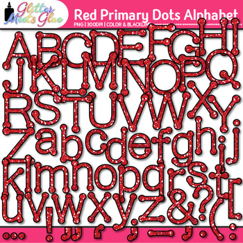 Red Primary Dots Alphabet Clip Art {Great for Classroom De
