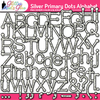 Silver Primary Dots Alphabet Clip Art {Great for Classroom Decor & Resources}