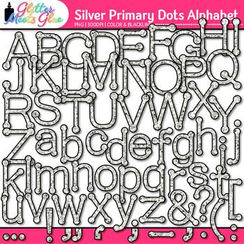 Silver Primary Dots Alphabet Clip Art | Glitter Letters for Classroom Decor
