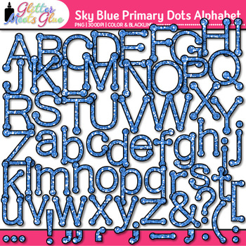 Sky Blue Primary Dots Alphabet Clip Art | Glitter Letters for Classroom Decor
