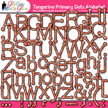 Tangerine Primary Dots Alphabet Clip Art {Great for Classroom Decor & Resources}