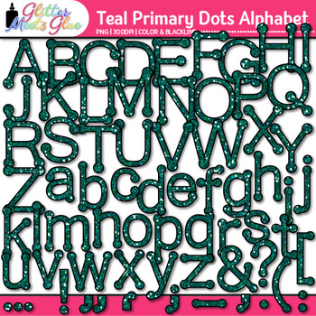 Teal Primary Dots Alphabet Clip Art   Glitter Letters for Classroom Decor