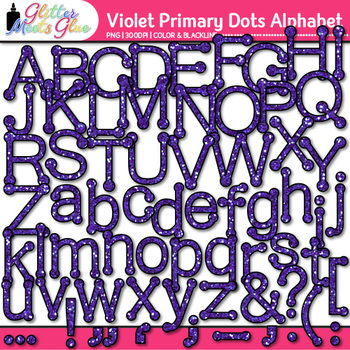 Violet Primary Dots Alphabet Clip Art | Glitter Letters for Classroom Decor