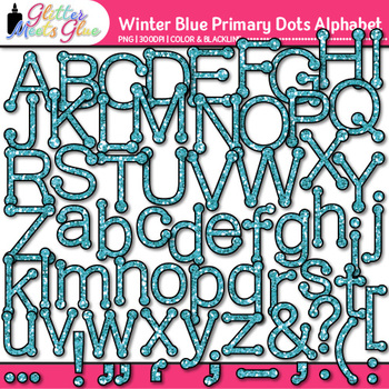 Winter Blue Primary Dots Alphabet Clip Art | Glitter Letters for Classroom Decor