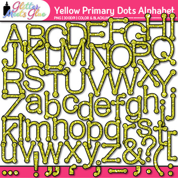 Yellow Primary Dots Alphabet Clip Art {Great for Classroom Decor & Resources}
