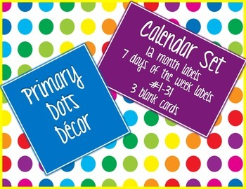 Primary Dots Calendar Set