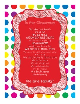 Primary Dots In Our Classroom, We Do Poster