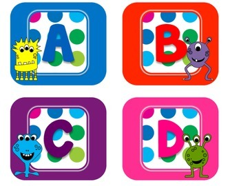 Primary Dots Monster Alphabet Labels