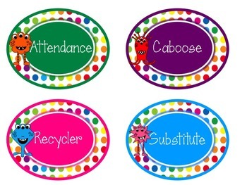 Primary Dots Monster Class Jobs Poster & Editable Job Labels
