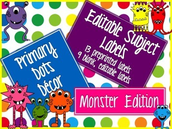 Primary Dots Monster Editable Subject Labels