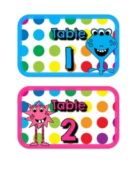 Primary Dots Monster Table Numbers