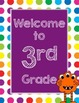 Primary Dots Monster Welcome to _____ Grade Poster (Purple)