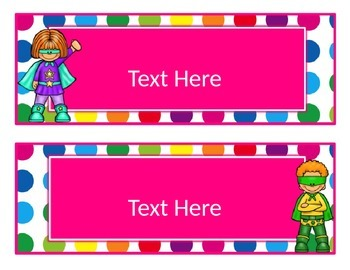 Primary Dots/Superheroes Decor Editable Large Labels