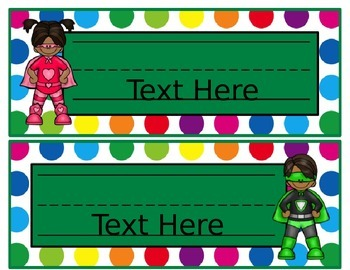 Primary Dots/Superheroes Decor Editable Nameplates