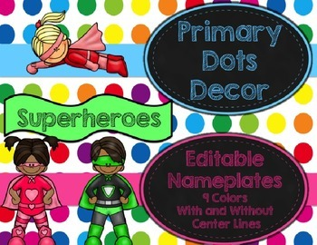 Primary Dots/Superheroes Decor Editable Nameplates