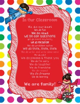 Primary Dots/Superheroes Decor In Our Classroom, We Do Poster