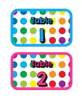 Primary Dots Table Numbers
