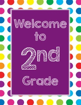 Primary Dots Welcome to _____ Grade Poster (Purple)