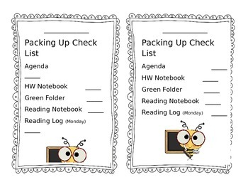 Primary End Of Day Packing Up Check List