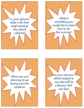 Primary End of Year Prompts: 25 Question Cards for Discussions and Writing