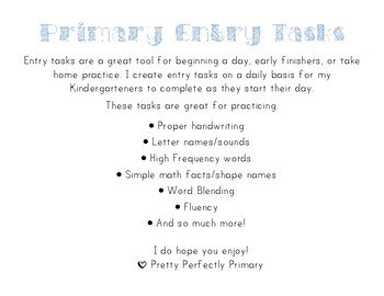 Primary Entry Tasks