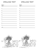 Primary Fall Spelling Test Template 2 per page 10 words Autumn Theme Scarecrow