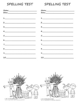 Primary Fall Spelling Test Template 2 per page 10 words Au