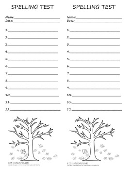 Primary Fall Spelling Test Template 2 per page 12 words Autumn Theme Leaves