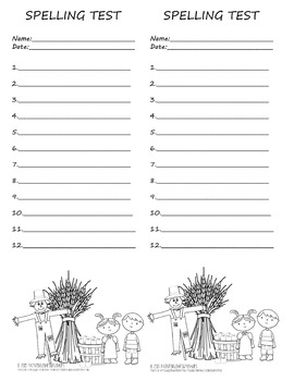 Primary Fall Spelling Test Template 2 per page 12 words Autumn Theme Scarecrow