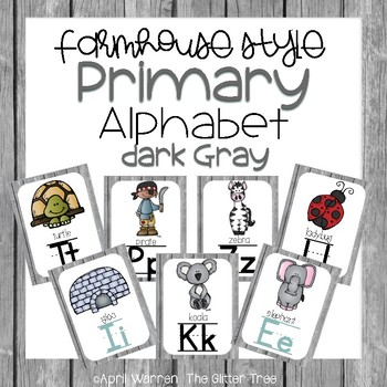 Primary Farmhouse Style Alphabet-Dark Gray