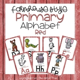 Primary Farmhouse Style Alphabet-Red