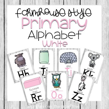 Primary Farmhouse Style Alphabet-White