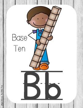 Primary Farmhouse Style Alphabet based on Math Vocabulary-White