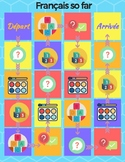 Primary French board game- Colors, numbers alphabet, basic