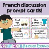 Primary French discussion prompt cards