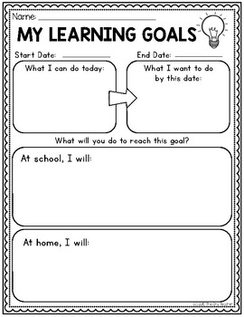 Lower Elementary Goal Setting Template