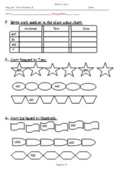 Primary Grade 2 Math Exam: Place Value, Counting Forward/Backward and Ordinals